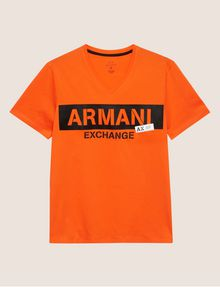 ARMANI EXCHANGE STENCIL V-NECK LOGO TEE Logo T-shirt Man r