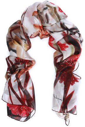ROBERTO CAVALLI Floral-print silk-organza scarf