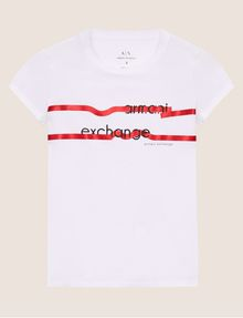 ARMANI EXCHANGE METALLIC HIGHLIGHTER LOGO CREW Logo T-shirt [*** pickupInStoreShipping_info ***] r