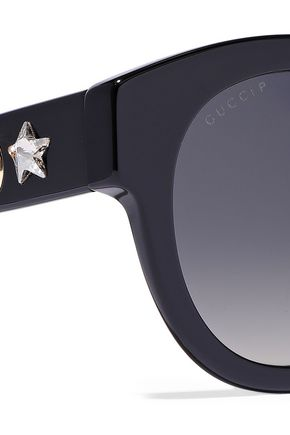 GUCCI Round-frame crystal-embellished acetate sunglasses