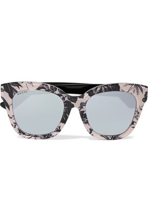 GUCCI D-frame printed acetate mirrored sunglasses