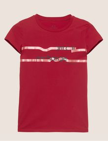 ARMANI EXCHANGE METALLIC HIGHLIGHTER LOGO CREW Logo T-shirt [*** pickupInStoreShipping_info ***] r