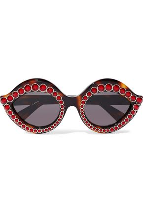 GUCCI Cat-eye embellished acetate sunglasses