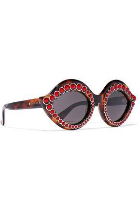GUCCI Cat-eye embellished acetate sunglasses