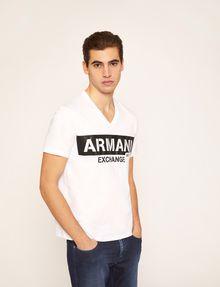 ARMANI EXCHANGE STENCIL V-NECK LOGO TEE Logo T-shirt Man f