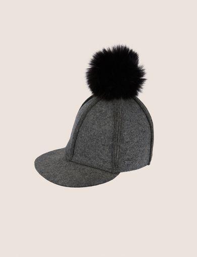 POMPOM PANELED WOOL CAP