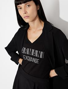 ARMANI EXCHANGE STUDDED POSITIVE-NEGATIVE LOGO TEE Logo T-shirt Woman a