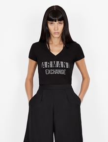 ARMANI EXCHANGE STUDDED POSITIVE-NEGATIVE LOGO TEE Logo T-shirt Woman f