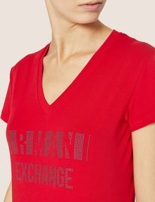 ARMANI EXCHANGE STUDDED POSITIVE-NEGATIVE LOGO TEE Logo T-shirt Woman b