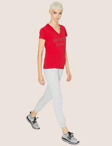 ARMANI EXCHANGE STUDDED POSITIVE-NEGATIVE LOGO TEE Logo T-shirt Woman d