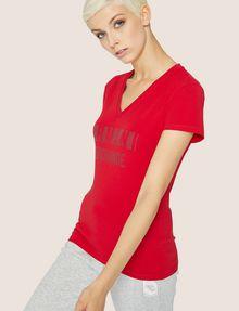 ARMANI EXCHANGE STUDDED POSITIVE-NEGATIVE LOGO TEE Logo T-shirt Woman f