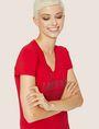 ARMANI EXCHANGE STUDDED POSITIVE-NEGATIVE LOGO TEE Logo T-shirt Woman a