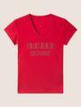 ARMANI EXCHANGE STUDDED POSITIVE-NEGATIVE LOGO TEE Logo T-shirt Woman r