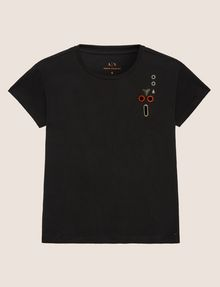 ARMANI EXCHANGE STUD AND GROMMET CUTOUT TEE Non-Logo Tee Woman r