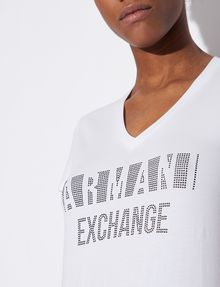ARMANI EXCHANGE STUDDED POSITIVE-NEGATIVE LOGO TEE Logo T-shirt Woman b