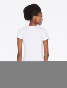 ARMANI EXCHANGE STUDDED POSITIVE-NEGATIVE LOGO TEE Logo T-shirt Woman e