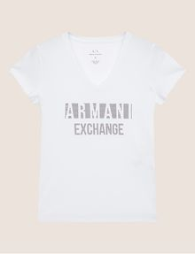 ARMANI EXCHANGE STUDDED POSITIVE-NEGATIVE LOGO TEE Logo T-shirt Woman r