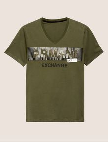 ARMANI EXCHANGE STENCIL V-NECK LOGO TEE Logo T-shirt Man r