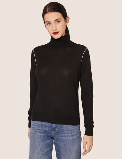 CONTRAST PIPING WOOL-BLEND TURTLENECK