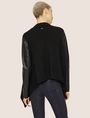 ARMANI EXCHANGE FAUX-LEATHER SLEEVE WOOL-BLEND WRAP Cardigan Woman e