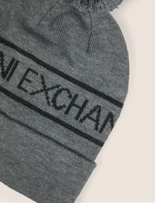 ARMANI EXCHANGE LOGO-KNIT POMPOM BEANIE Hat [*** pickupInStoreShippingNotGuaranteed_info ***] d