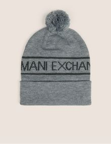 ARMANI EXCHANGE LOGO-KNIT POMPOM BEANIE Hat [*** pickupInStoreShippingNotGuaranteed_info ***] f