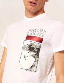 ARMANI EXCHANGE SCHMAL GESCHNITTENES RUNDHALS-T-SHIRT MIT ADLER IN METALLIC-OPTIK T-Shirt mit Grafik [*** pickupInStoreShippingNotGuaranteed_info ***] b
