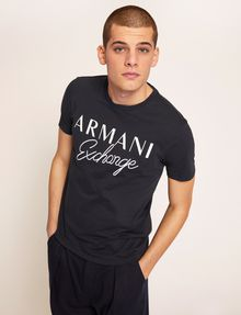 ARMANI EXCHANGE T-SHIRT GIROCOLLO SLIM FIT CON SCRITTA RICAMATA T-shirt con logo [*** pickupInStoreShippingNotGuaranteed_info ***] f