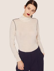 ARMANI EXCHANGE CONTRAST PIPING WOOL-BLEND TURTLENECK Crew Neck Woman f