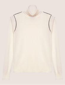 ARMANI EXCHANGE CONTRAST PIPING WOOL-BLEND TURTLENECK Crew Neck Woman r