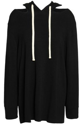MONROW Cutout French terry hooded sweatshirt