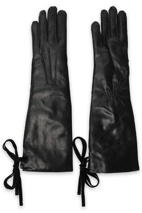 ANN DEMEULEMEESTER Bow-detailed leather gloves