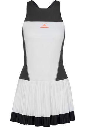 ADIDAS by STELLA McCARTNEY Two-tone pleated stretch mini dress