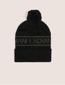 ARMANI EXCHANGE LOGO-KNIT POMPOM BEANIE Hat [*** pickupInStoreShippingNotGuaranteed_info ***] f