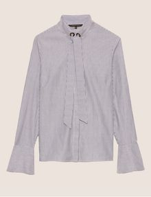 ARMANI EXCHANGE FLARED CUFF PUSSYCAT BOW BLOUSE Striped Shirt [*** pickupInStoreShipping_info ***] r