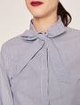 ARMANI EXCHANGE FLARED CUFF PUSSYCAT BOW BLOUSE Striped Shirt [*** pickupInStoreShipping_info ***] b