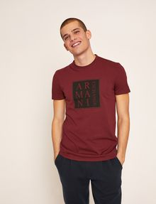 ARMANI EXCHANGE SLIM-FIT BOXED & STACKED LOGO CREW Logo T-shirt Man f