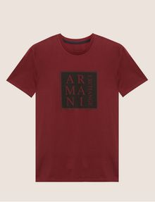 ARMANI EXCHANGE SLIM-FIT BOXED & STACKED LOGO CREW Logo T-shirt Man r