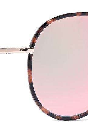 MATTHEW WILLIAMSON Aviator tortoiseshell acetate and gold-tone mirrored sunglasses