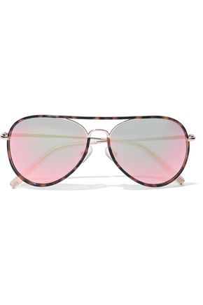 MATTHEW WILLIAMSON Aviator tortoiseshell acetate and gold-tone mirrored sunglasses