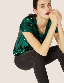ARMANI EXCHANGE CASCADING SEQUIN TEE Solid Top [*** pickupInStoreShipping_info ***] a