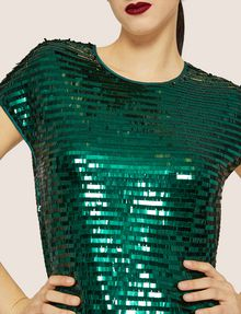 ARMANI EXCHANGE CASCADING SEQUIN TEE Solid Top [*** pickupInStoreShipping_info ***] b
