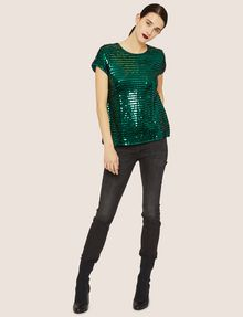 ARMANI EXCHANGE CASCADING SEQUIN TEE Solid Top [*** pickupInStoreShipping_info ***] d