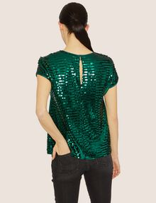 ARMANI EXCHANGE CASCADING SEQUIN TEE Solid Top [*** pickupInStoreShipping_info ***] e