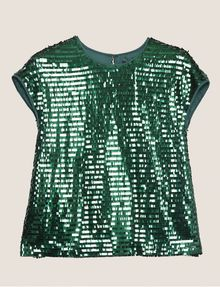 ARMANI EXCHANGE CASCADING SEQUIN TEE Solid Top [*** pickupInStoreShipping_info ***] r