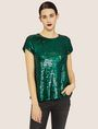 ARMANI EXCHANGE CASCADING SEQUIN TEE Solid Top [*** pickupInStoreShipping_info ***] f