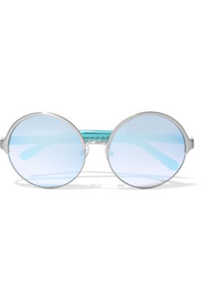 MATTHEW WILLIAMSON Round-frame acetate and silver-tone mirrored sunglasses