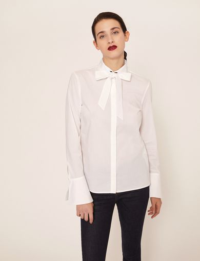 FLARED CUFF PUSSYCAT BOW BLOUSE