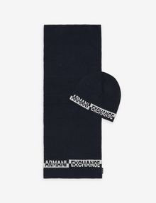 ARMANI EXCHANGE BICOLOR BEANIE AND RECTANGULAR SCARF SET Scarf Man f