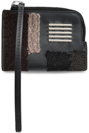 RICK OWENS Embellished embroidered leather coin purse